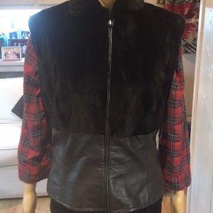 Fur leather vest